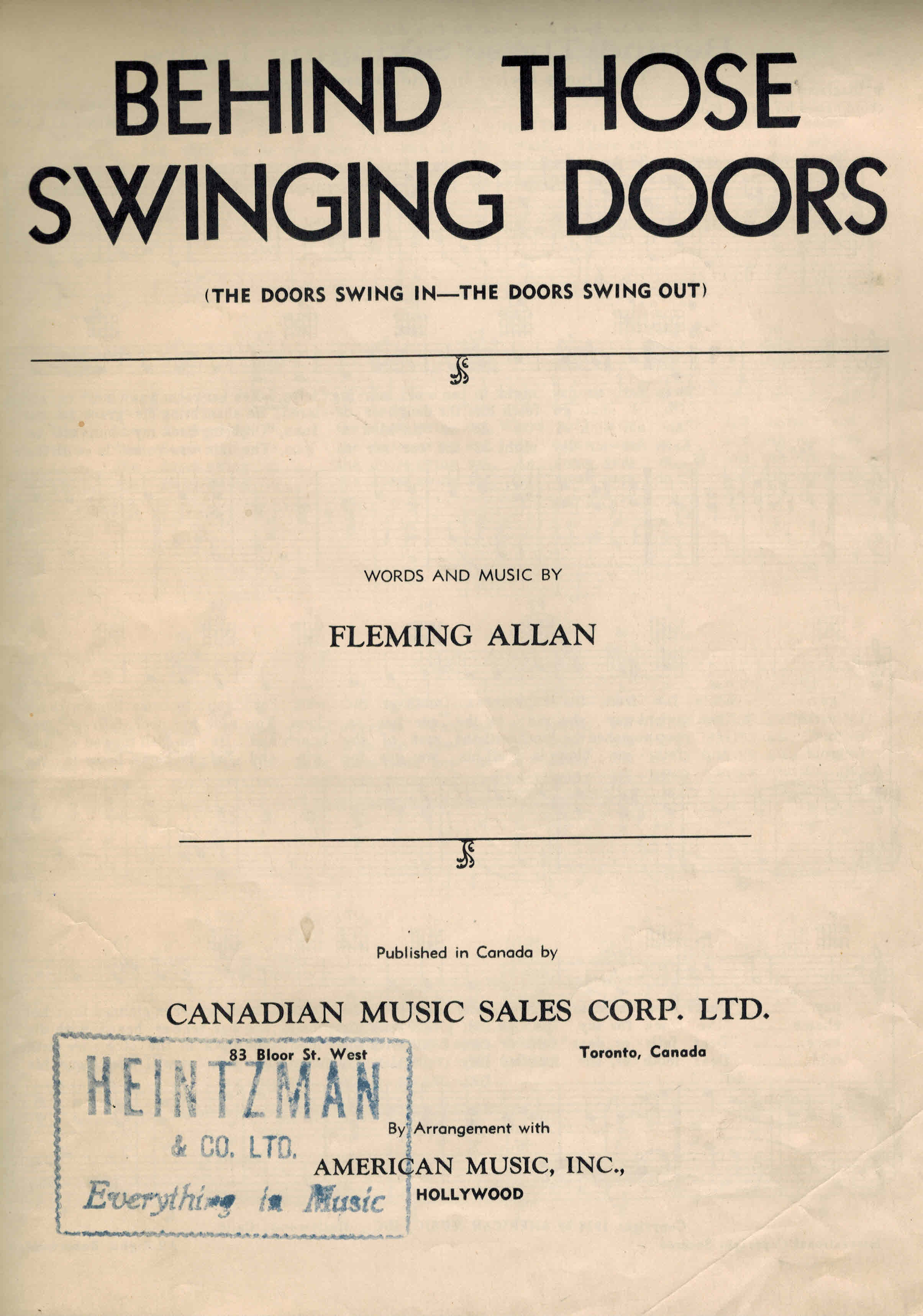 Image for Behind Those Swinging Doors ( The Doors Swing in - the Doors Swing Out ) Vintage Sheet Music