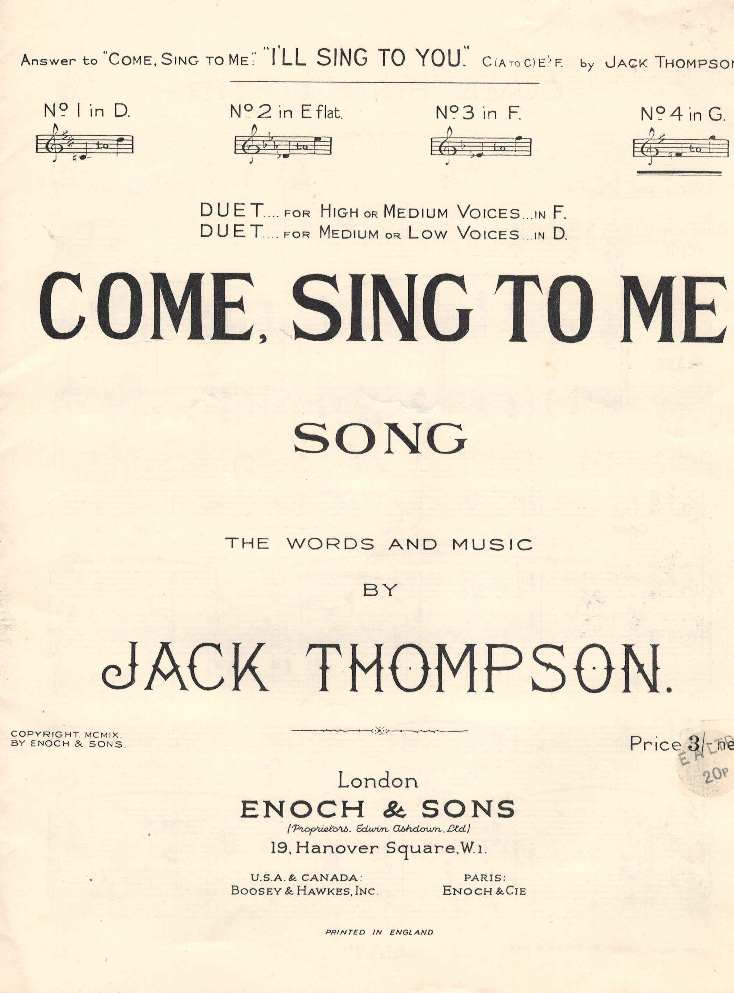 Image for Come Sing to Me Song Sheet in G