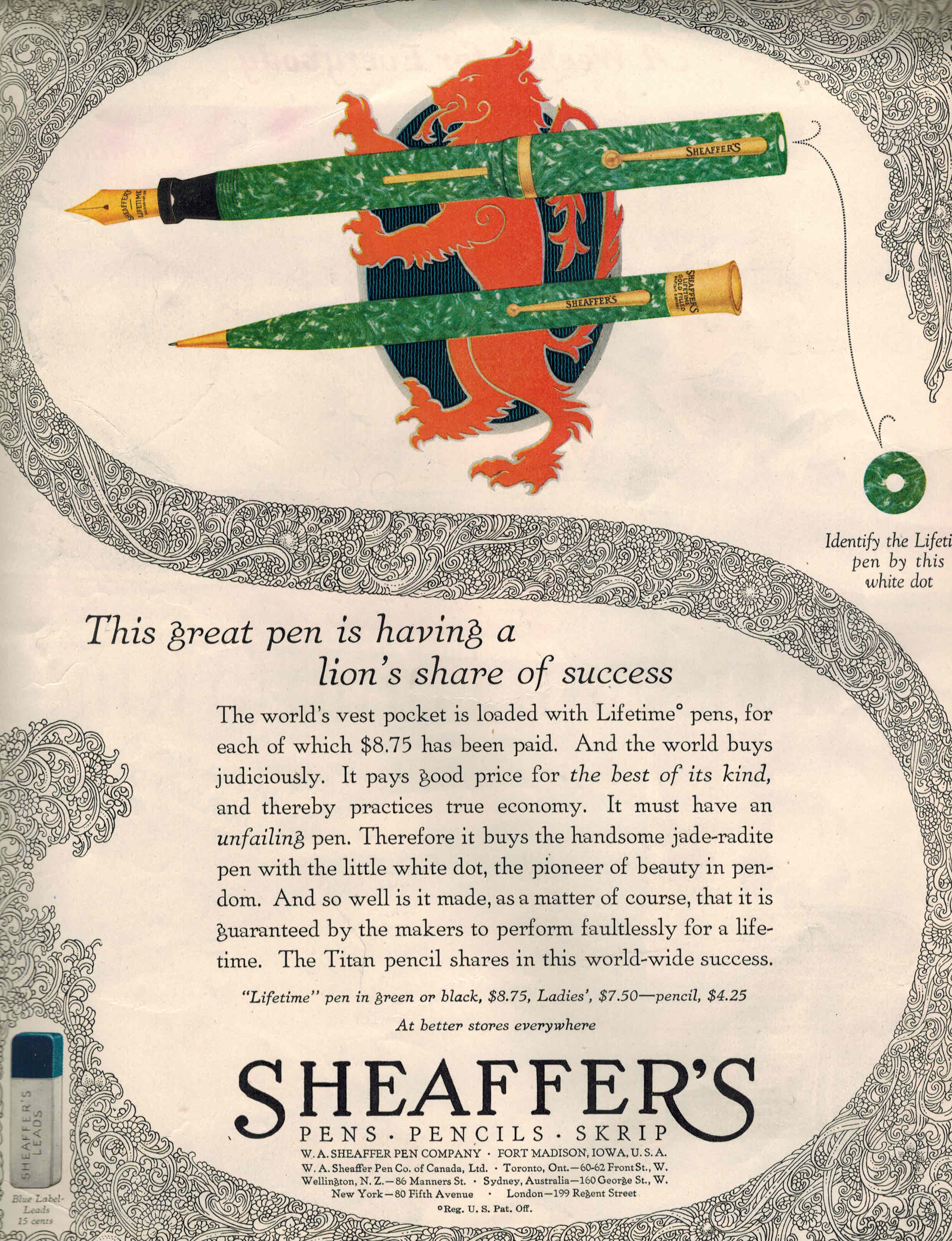 Image for ORIGINAL ADVERTISEMENT Sheaffer Pen Company 1927