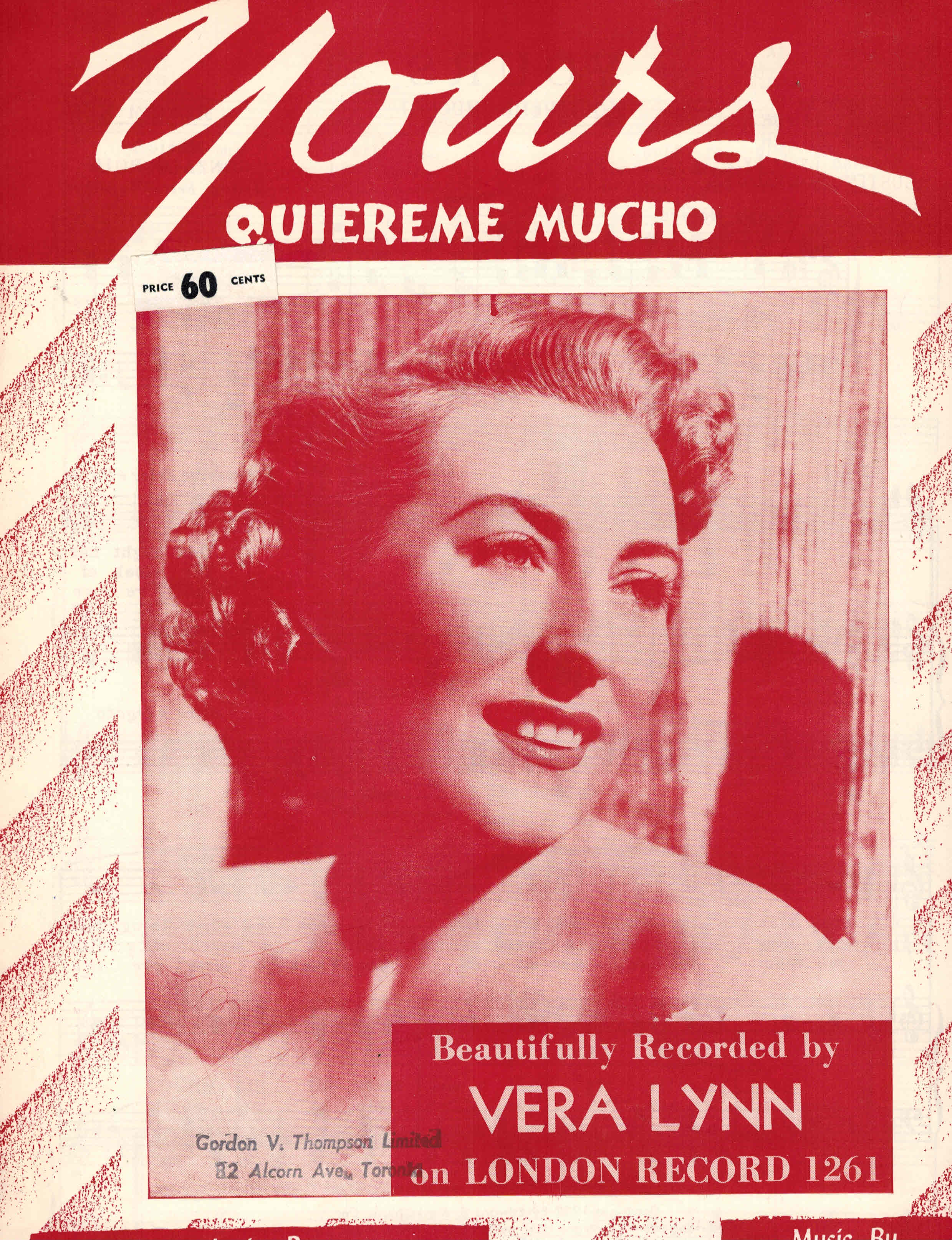 Image for Yours - Quiereme Mucho - Sheet Music - Vera Lynn Cover