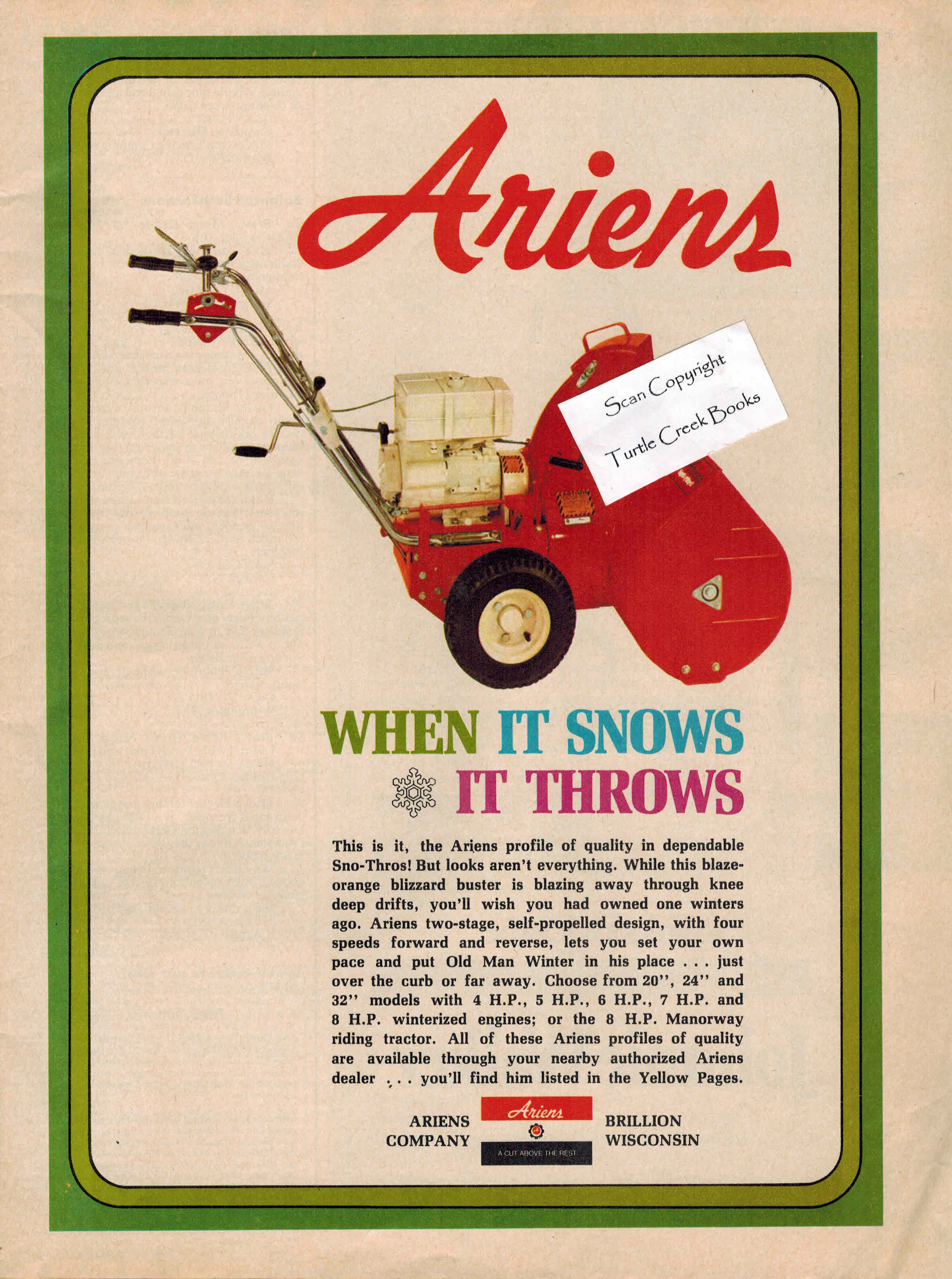 Image for Ariens Snowblower - Original Advertisement from 1972 - When it Snows it Throws