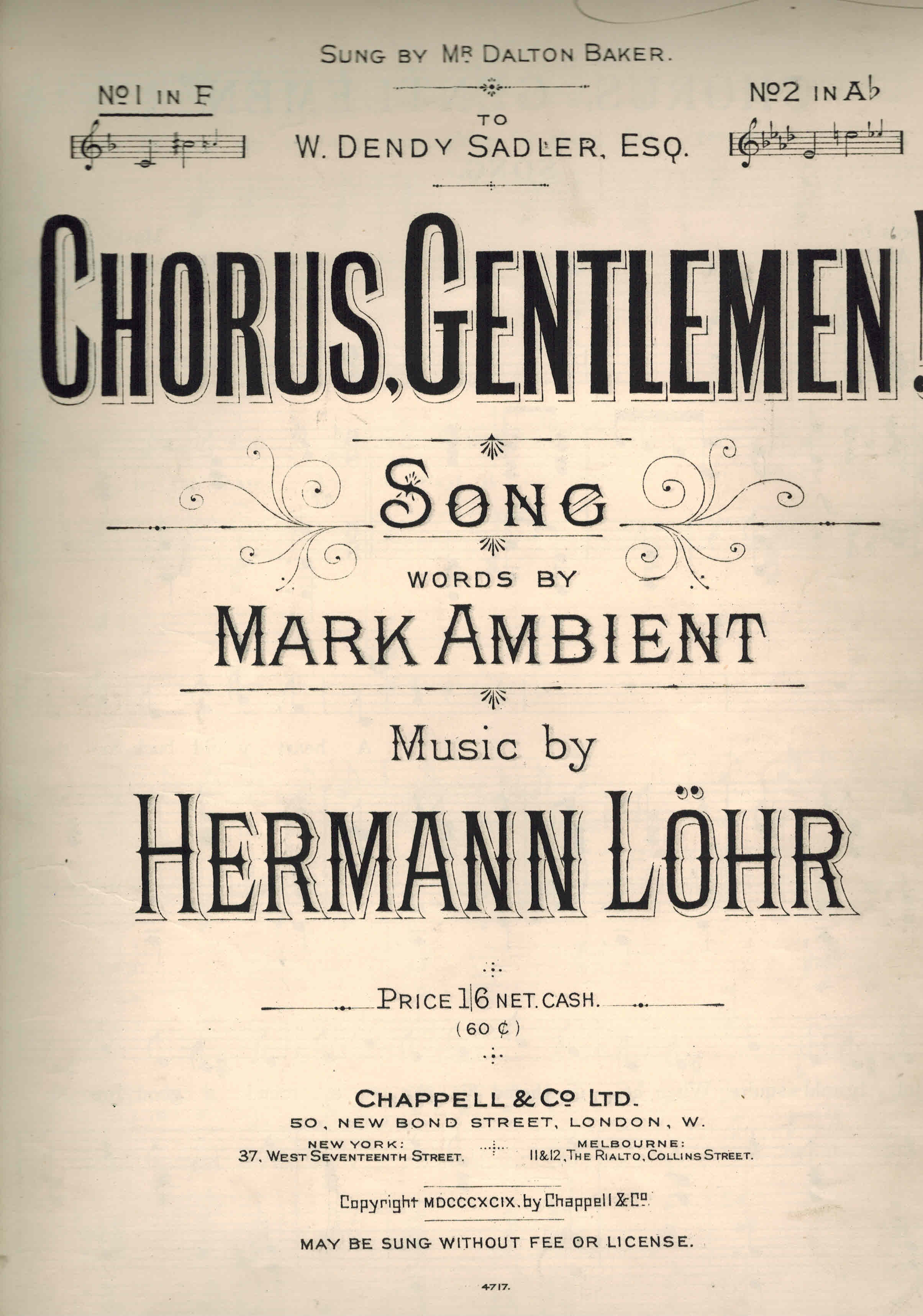 Image for Chorus Gentlemen ! Vintage Sheet Music as Sung By Mr Dalton Baker