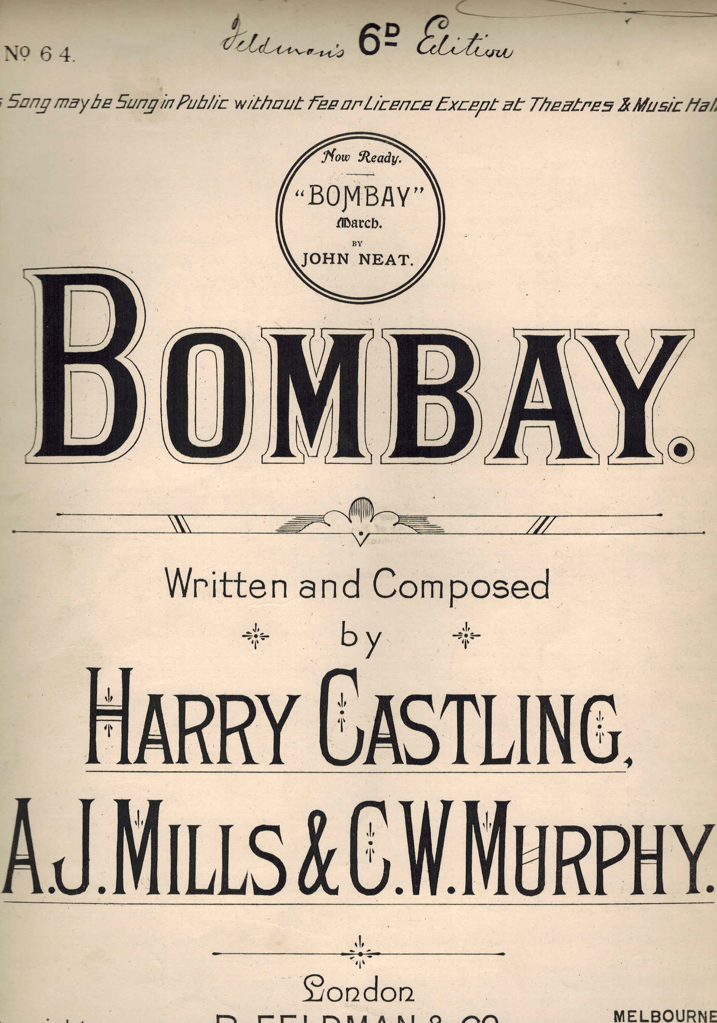 Image for Bombay  - Vintage Sheet Music